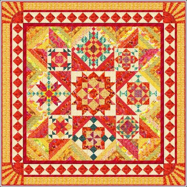 Rays Of Sunshine Block Of The Month  Kaffe Fassett Fabrics