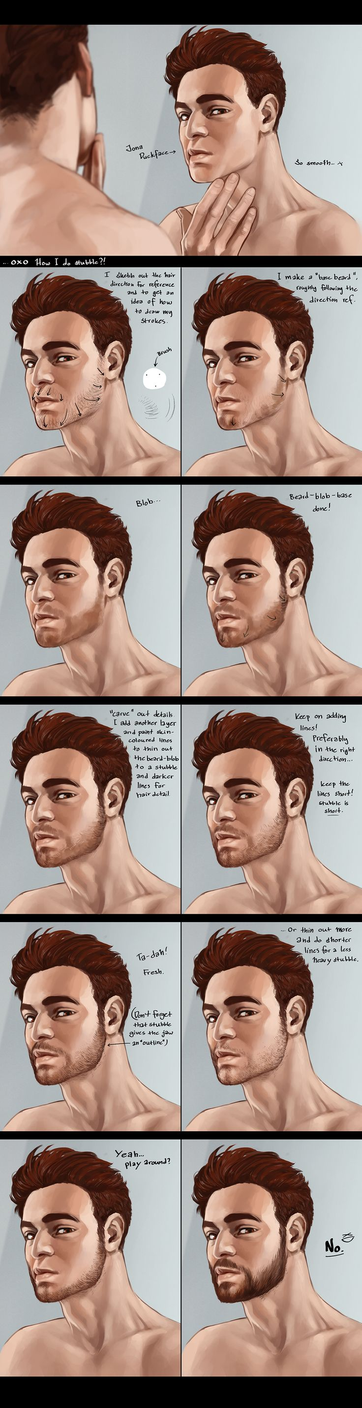 how to draw stubly facial hair