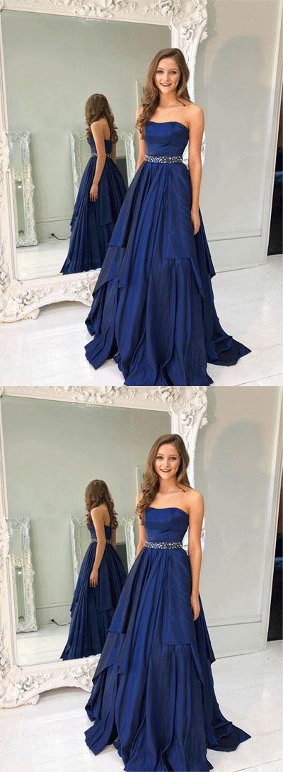 strapless navy blue long prom dresses/evening dresses #prom #promdress #promdresses #eveningdress #eveningdresses