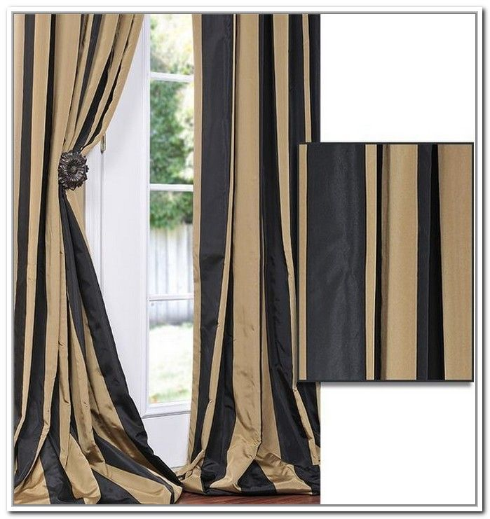 Black And Gold Curtains With Stripes Decor Striped Curtains - Black and gold stripe drapery fabric
