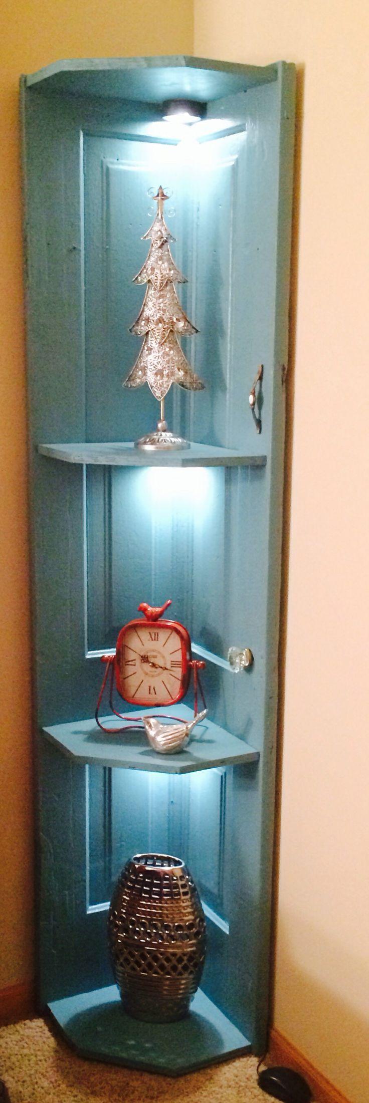 corner shelf made from old door | Corner shelf w/lighting made from an old door