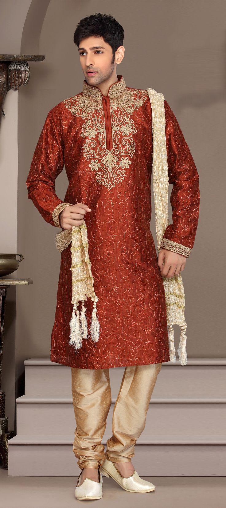 12820: Orange color family Kurta Pyjamas.