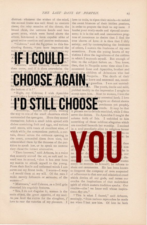 romantic love quote dictionary art vintage If I Could Choose Again, I'd Still Choose YOU print - vintage love quotes dictionary art