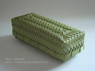 エコクラフト:網代編みの箱:お弁当箱2
