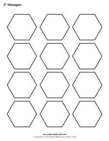 A printable hexagon template sheet.