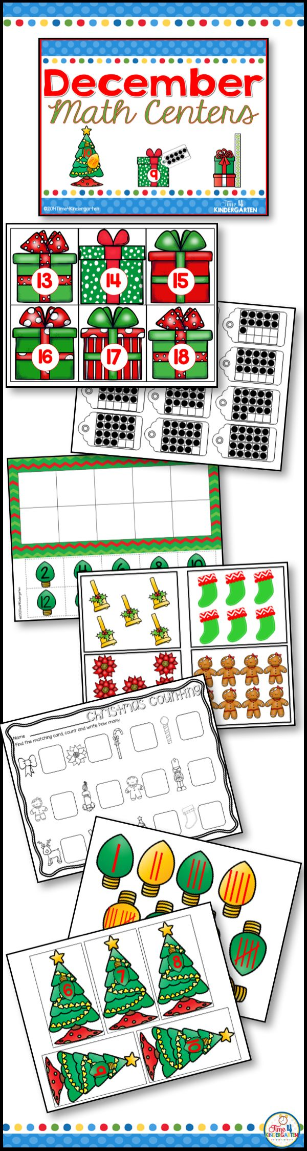 Christmas themed math centers for kindergarten. Colorful engaging math centers for the holiday season. Counting, measurement ten frames and tally marks are all included in this resource.