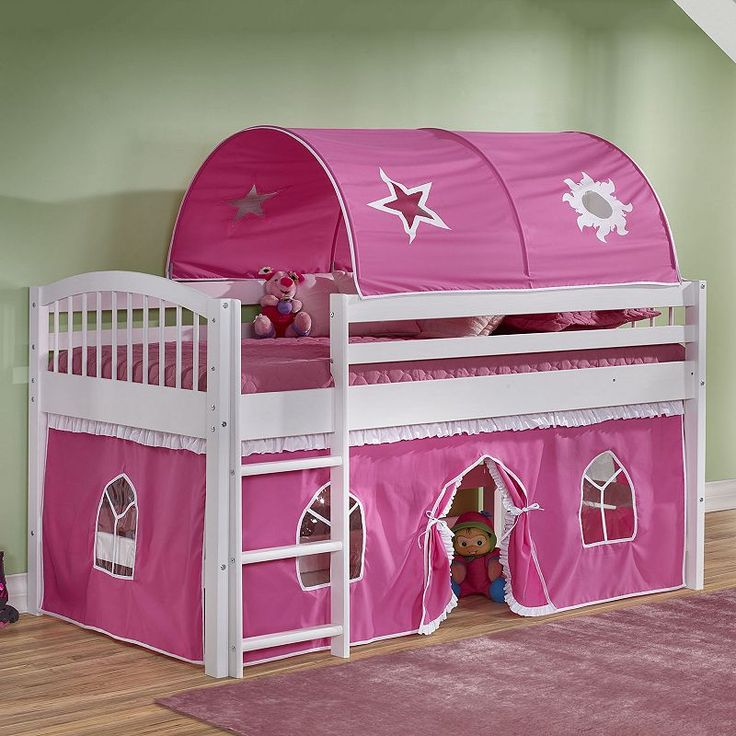 Bolton Addison Junior Pink Playhouse Loft Bed, White