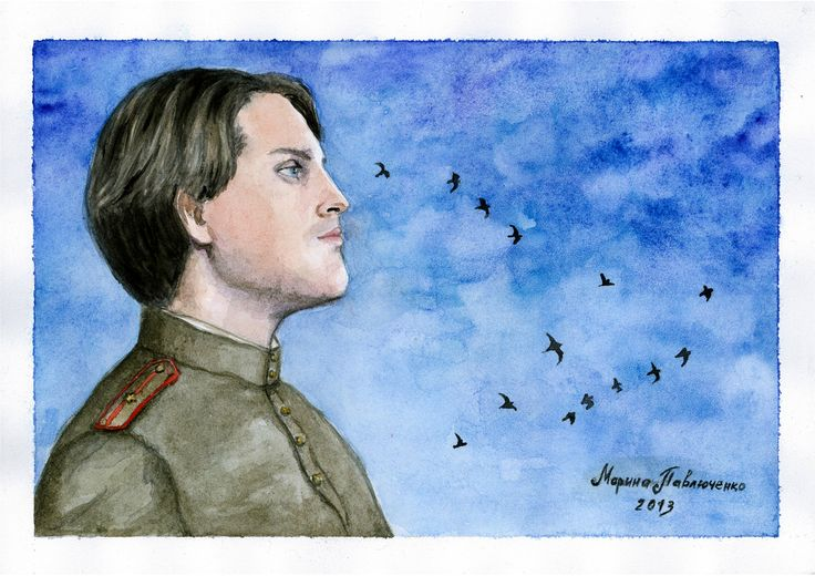 """The Soldier from Treptower Park. When I was in Treptower Park in Berlin I remembered a sad Russian song """"Cranes"""". And that soldier has reminded me of this man — Ivan Ozhogin, Russian musicals actor which also sings this song very very well and touching. Watercolor, A4  Sometimes it seems to me that the soldiers, Which haven't returned from blood's fields, Haven't layed in our land, But have turned into white cranes."""