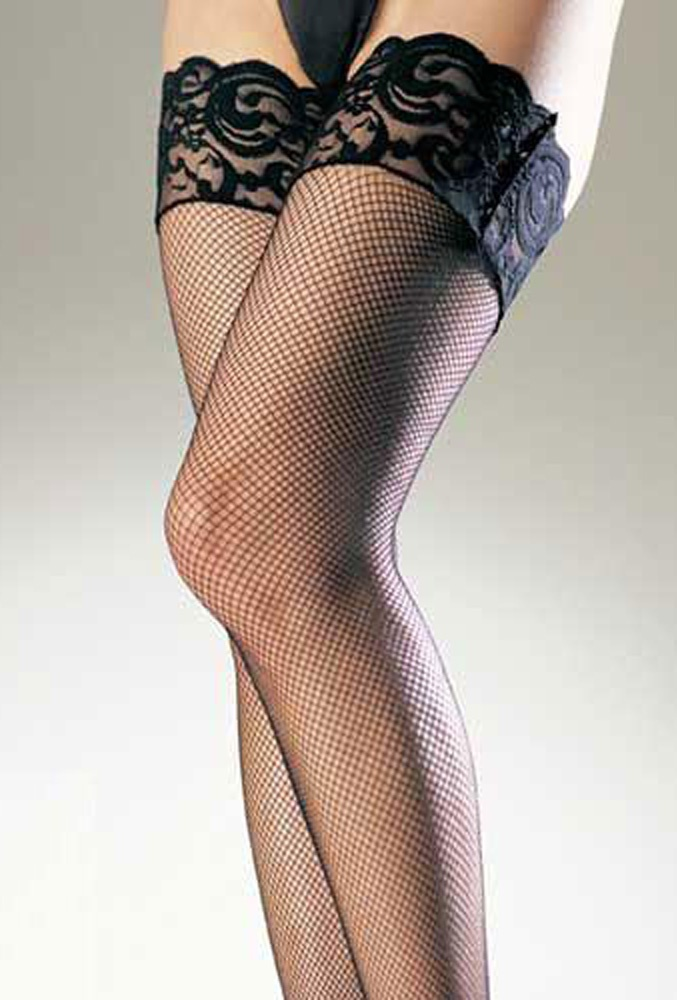 Sexy fishnet thigh high with lace top.
