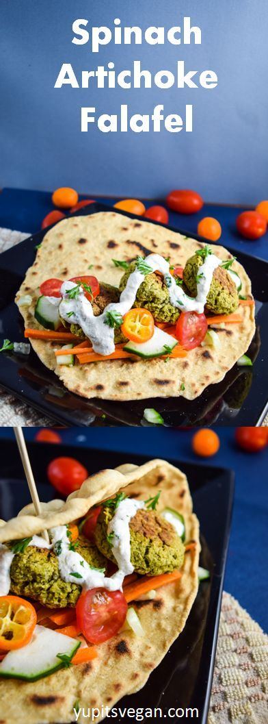 Spinach Artichoke Falafel | yupitsvegan.com. Crispy baked (not fried!) falafel served on flatbread with the works. Gluten-free, grain-free, vegan recipe.
