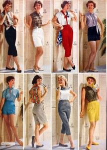 Sears Catalog, Spring/Summer 1958 - Women's Fashion 50s 60s vintage fashion style shorts pedal pushers pants red black white blue yellow grey black tops shirts casual summer resort wear beach
