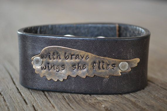 Stamped leather cuff 'with brave wings she flies', upcycled dark brown leather cuff bracelet