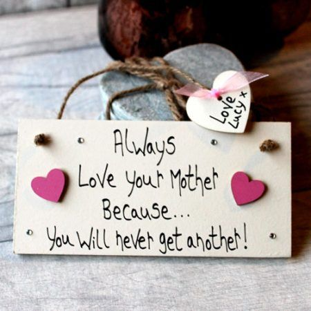 Exceptional Gifts For Mother's Day Handcrafted Plaque With Pink Hearts - Mum gifts from the heart. Personalized gifts for your mom, mummy, mommy. Write your own words and create lovely mum gifts ideas birthday and Mother's Day.