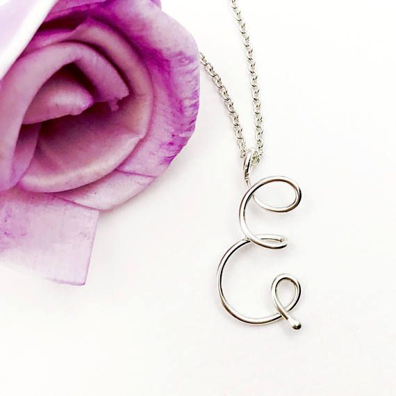 Letter E wire initial charm necklace by Kalligra Jewelry. kalligrajewelry.etsy.com