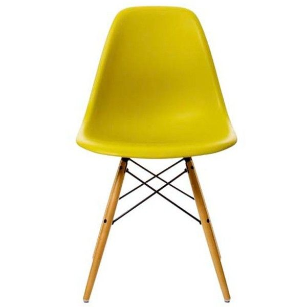 Vitra Charles & Ray Eames DSW Chair Mustard ($425) ❤ liked on Polyvore featuring home, furniture, chairs, accent chairs, mustard yellow accent chair, mustard chair, mustard accent chair, mustard yellow chair and vitra chair