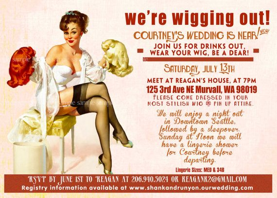 Vintage Pin Up Girl wig party  Invitation- Bachelorette party, Hens night, Lingerie Shower burlesque invite diy print file PRINTED OPTIONAL