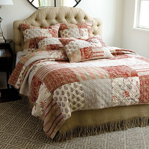 Annabel Heirloom Patchwork Bedding with Burlap Bed Skirt. 31 best Bedding images on Pinterest