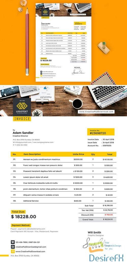a4 invoice psd template