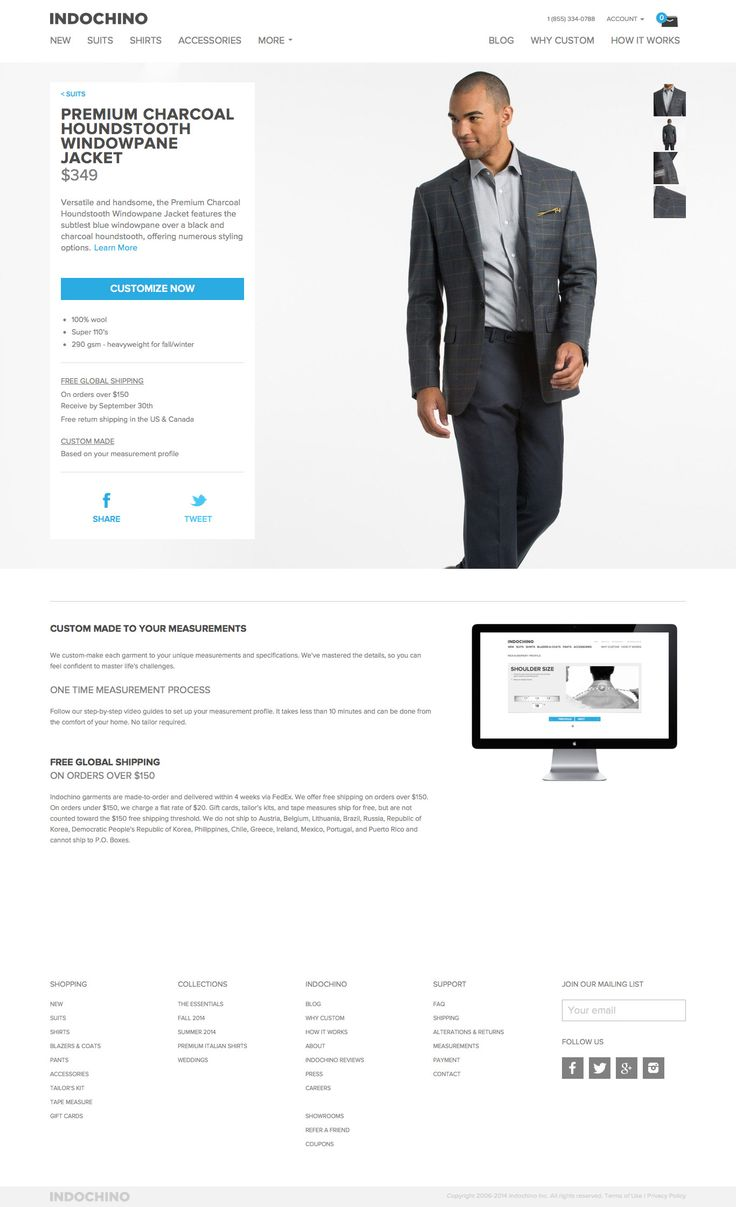 Indochino Desktop Product Page - http://www.cartrepublic.com/gallery/2014/09/indochino-desktop-product-page/