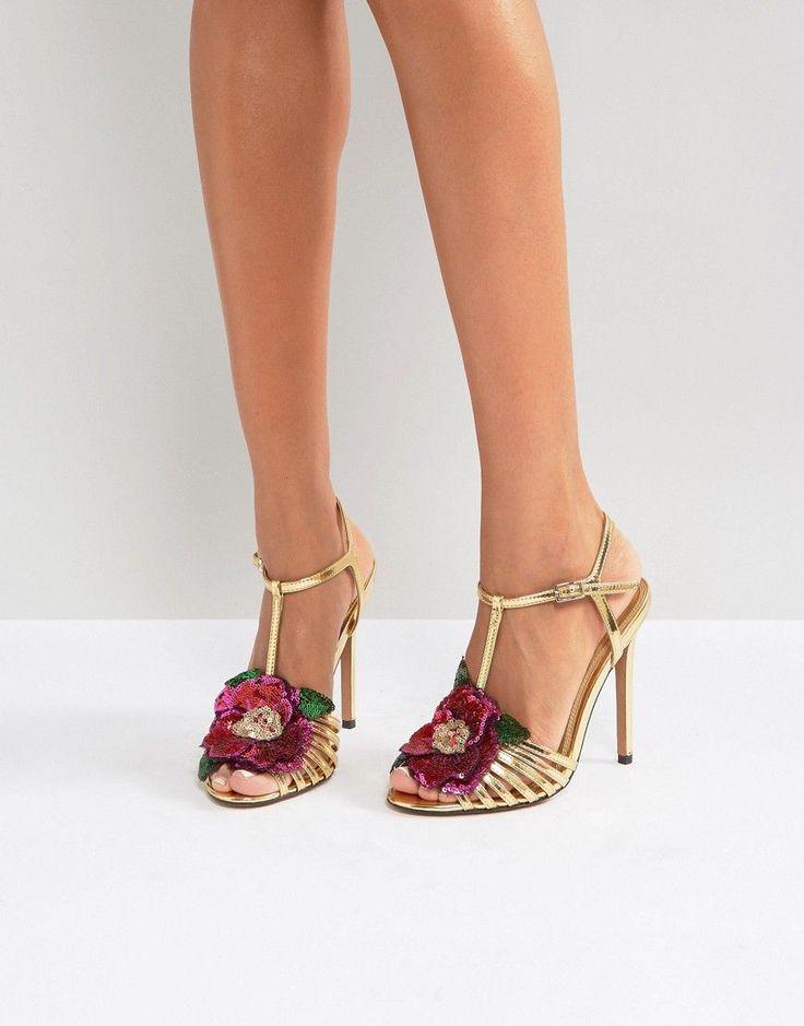 ASOS HONEY BLOOM Embellished Heeled Sandals - Gold