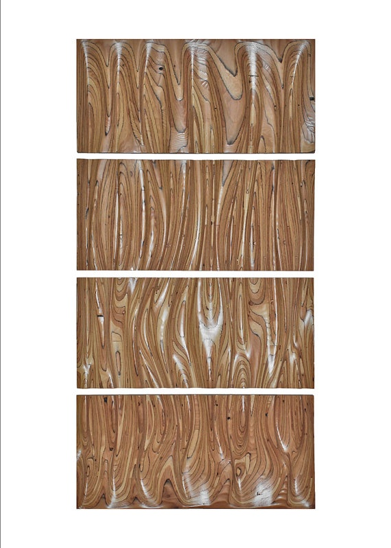 """Wall Panel & Headboard: """"Up in Smoke"""" - Extra Large Wavy Layered Wood Art Sculpture via Etsy"""