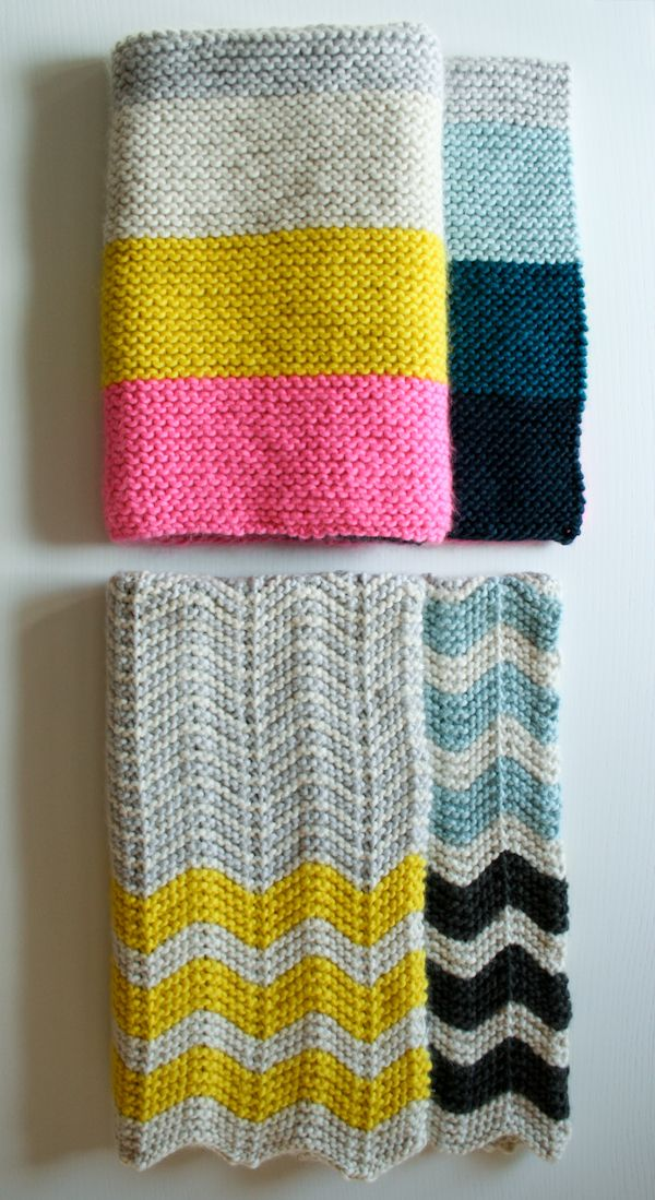 Super Easy Crib Blanket - the purl bee; You could switch in almost any weight of yarn for a bigger or smaller blanket.