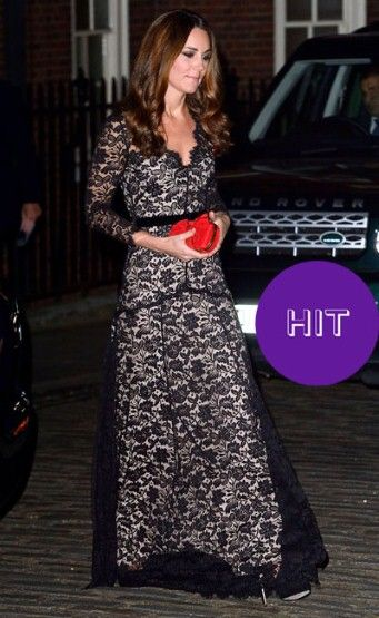 Pulling out the most elegant of failsafe gowns from her wardrobe, the Duchess modelled a long-sleeved, black lace embellished Temperley London gown – previously worn at the premiere of 'War Horse' in January – for a charity dinner in London, to support the University of St Andrews's 600th anniversary appeal.