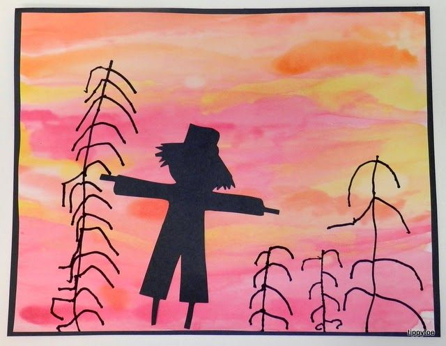 "Tippytoe Crafts: fall  Using watercolours, marker and black construction paper, your students can make this ""painting"" of a Fall day. It's a great way to decorate the classroom for back-to-school, open house or Thanksgiving!"