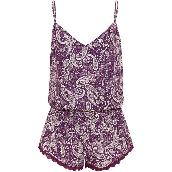 Paloma Blue Malibu printed silk playsuit (405 NZD) ❤ liked on Polyvore featuring jumpsuits, rompers, purple, playsuit romper, silk romper, purple romper and silk rompers