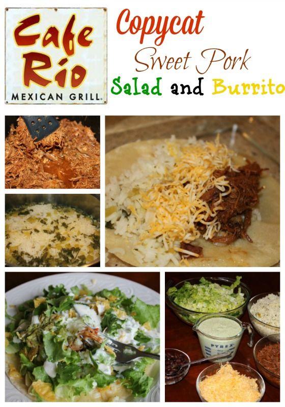 Cafe Rio Copycat sweet pork salad and burrito recipe.