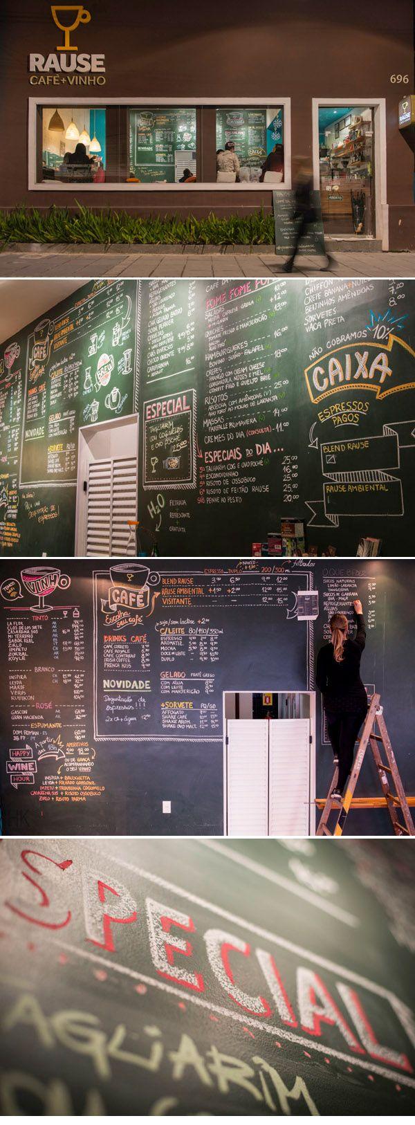 Chalkboard menu wall at Rause Café + Vinho. Curitiba, Brazil ( https://www.behance.net/gallery/9767049/Rause-Caf-Vinho )