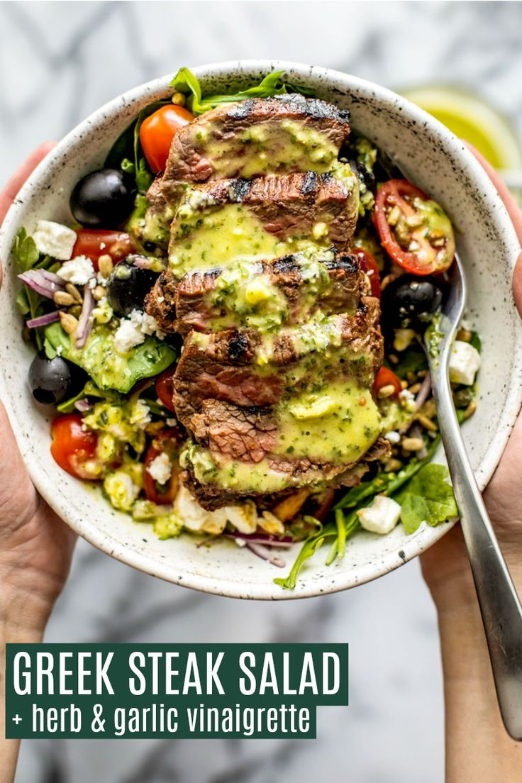These fresh and healthy Greek Steak Salads with Herb and Garlic Vinaigrette are the perfect summer salad to treat as a m…