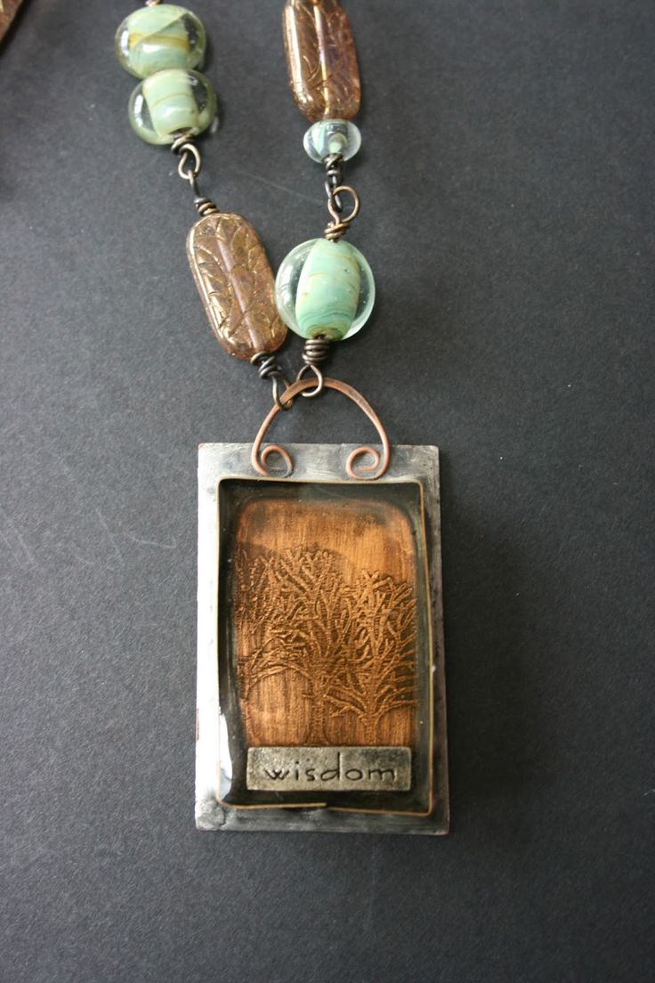 Etched Copper In Metal Bezel With Resin