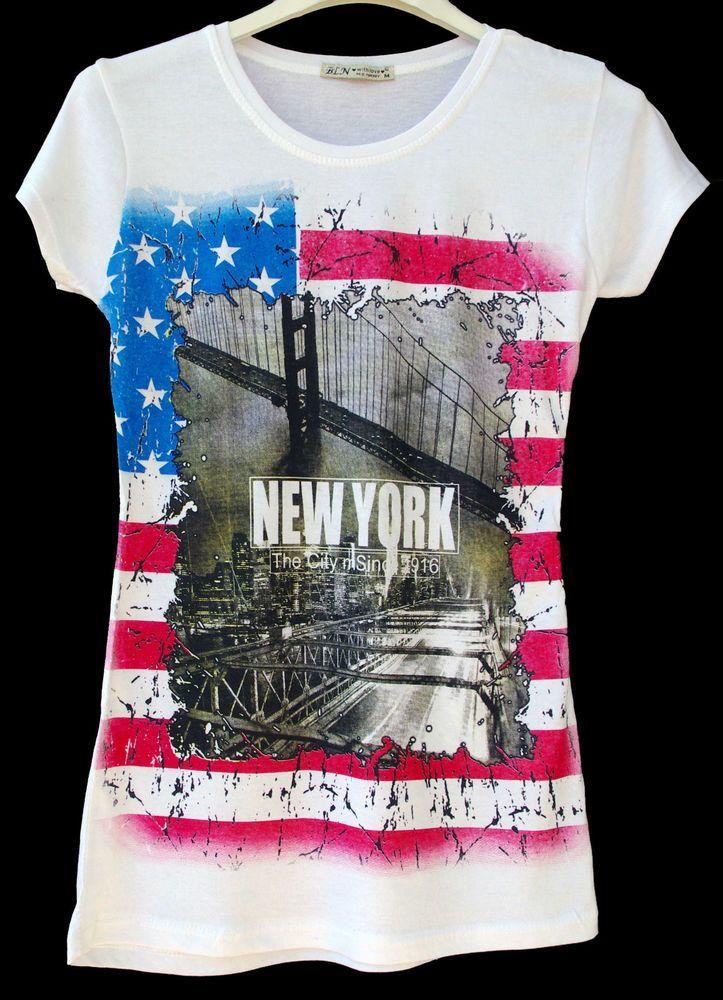 t.shirt maglietta donna  ragazza cotone stampa bandiera americana tg. M-L-XL