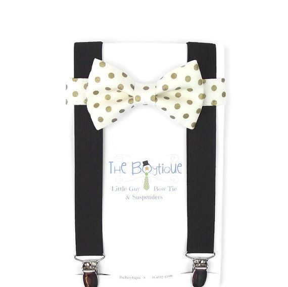 Hey, I found this really awesome Etsy listing at https://www.etsy.com/listing/254742327/gold-polka-dot-bow-tie-black-suspenders