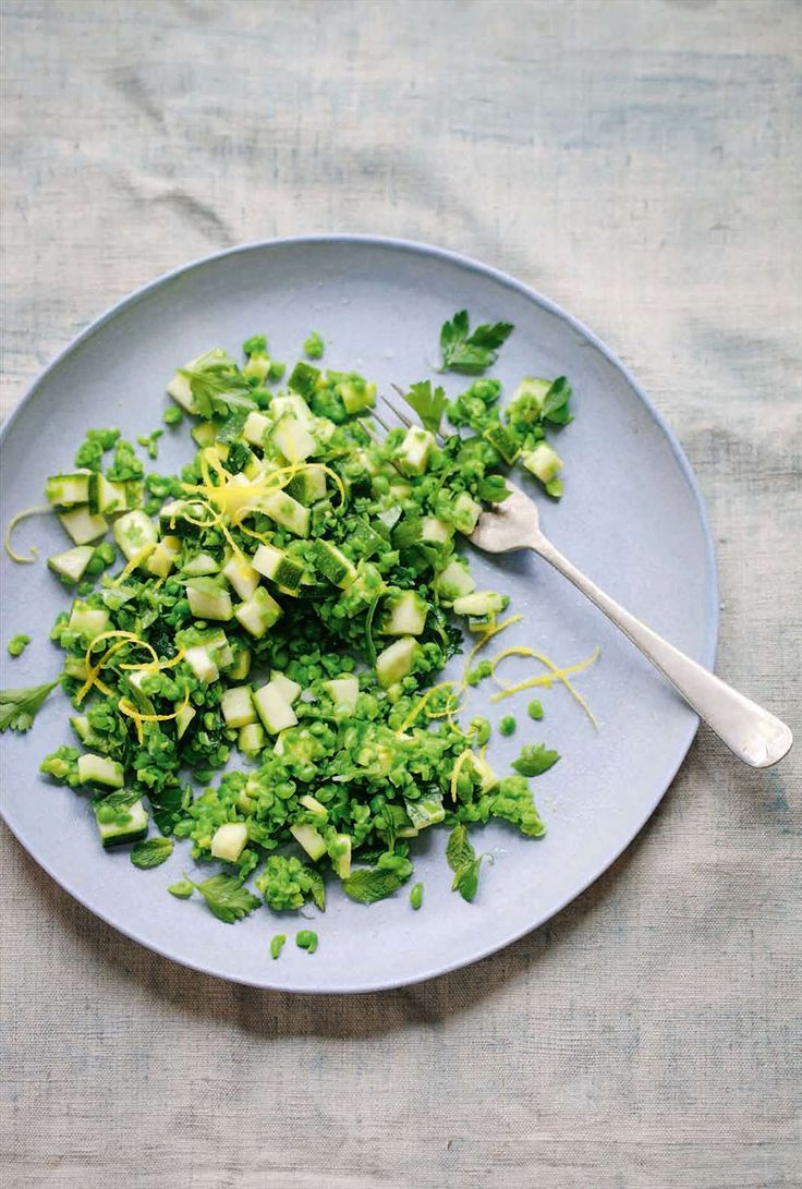 Fresh pea and raw courgette salad from Lily Simpson's The Detox Kitchen Bible. Find it on Cooked.com
