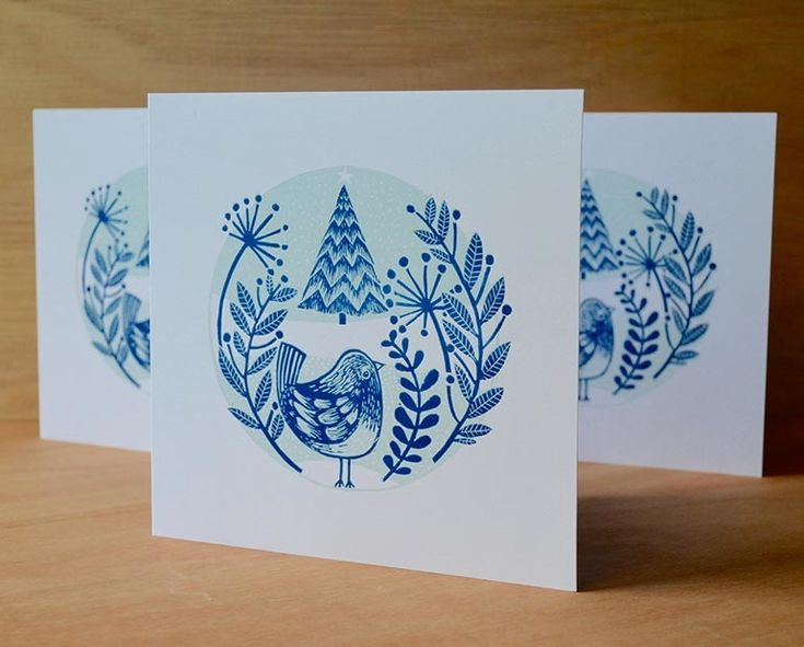 Christmas card linocut, 2015, relief print, limited edition