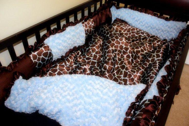 Brown Blue Giraffe Boy Crib Set Blue Brown Giraffe Satin