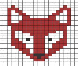 Quadrillage Pixel - Animaux Renard