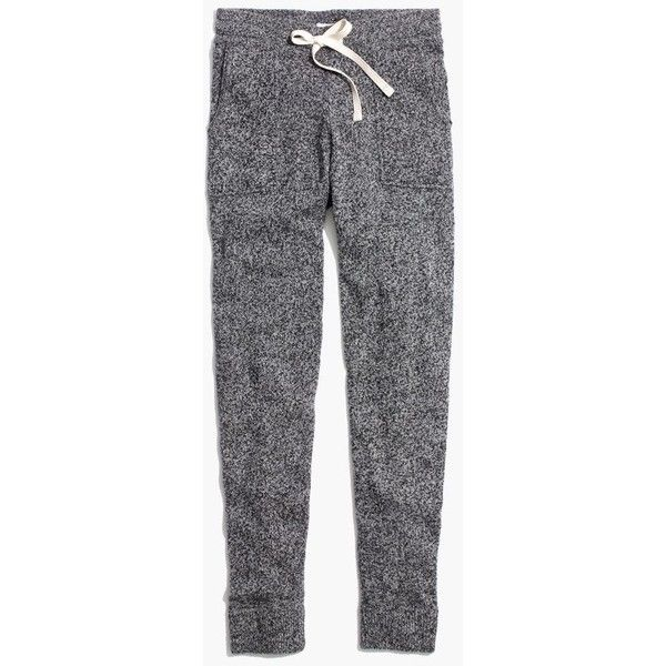 MADEWELL Sweater Pants found on Polyvore featuring pants, bottoms, marled pepper, madewell pants, fitted pants, merino wool pants and madewell