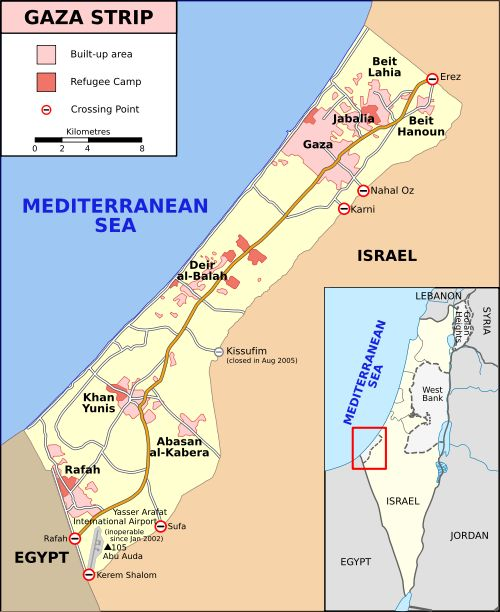 This is a picture of the Gaza Strip.It is located in the Middle East along the Mediterranean coast between Israel and Egypt.