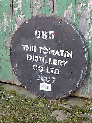 The-Tomatin-Whisky-2007-Oak-Barrel-Cask-head-26-wide-Braced-and-Ready-to-Hang