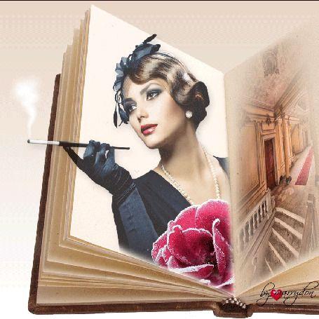 Анимация На странице книги девушка с сигаретой в мундштуке