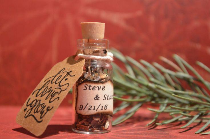 25 Wildflower seed wedding favor bottle customized.  Unique rustic wedding favor. by attic209 on Etsy https://www.etsy.com/listing/483258938/25-wildflower-seed-wedding-favor-bottle