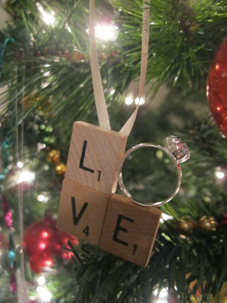 Scrabble Tile LOVE Engagement Ring Christmas Ornament - Just Engaged, Just Married, First Christmas Together. $9.00, via Etsy.