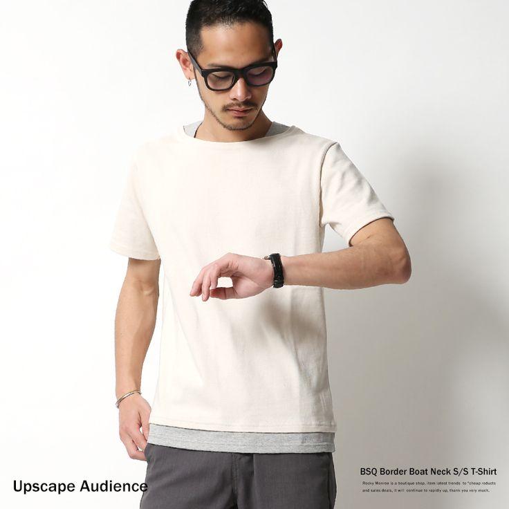 【ポイント10倍】【Upscape Audience】日本製/国産BSQボーダー度詰天竺フェイクレイヤードボートネックTシャツ/メンズ/バスクシャツ/半袖/Tシャツ/スウェット/ボーダーTシャツ/重ね着/AUD1769◆5904