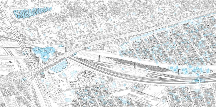 LOHA's WATERshed Reimagines and Reactivates the LA River,Axonometric view of the Elysian Valley