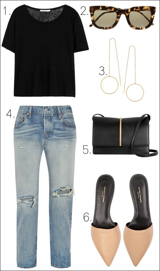 black tee, tort sunglasses, delicate earrings, ripped jeans, leather bag & mule flats #style #fashion #summer