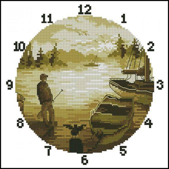 Сlock Fishing. Cross Stitch Pattern PDF Instant Download. Fisherman's gift, Fishing embroidery, embroidery pattern, Cross Stitch, embroidery