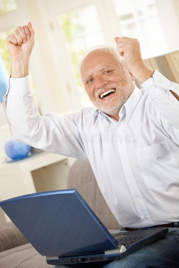 Old Man Celebrating With Laptop Old Man Celebrating At Home Laughing And Raisi Ad Laptop Home Man Celebrating Old Man Meme Funny Memes Meme Faces
